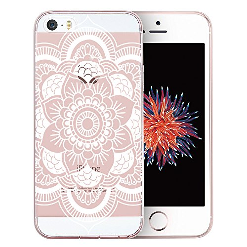 iPhone SE Case, iPhone 5S Case, iPhone 5 Case, Doramifer Maya Series Protective Soft Case with Delicate 3D Print Slim Case [Ultra Thin] for iPhone SE/5S/5 (White Mandala)