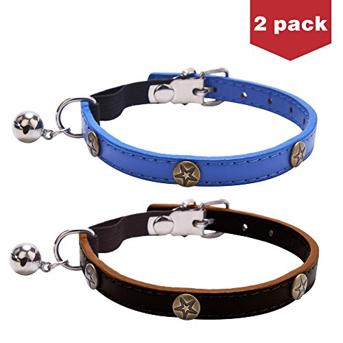 2Pcs Fashion Leather Cat Collar with Bell Studded Bronze Pentagram