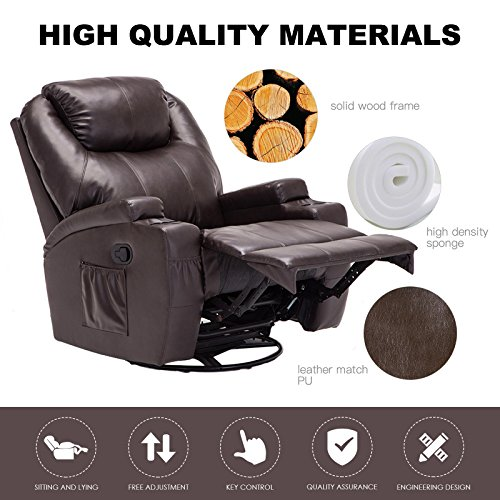 Murtisol Massage Recliner Lounge with Heat and Massage Vibrating Sofa Chair with Quality PU Leather (Brown) by Murtisol (Image #5)