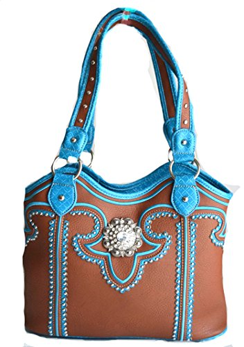 Western Brown Blue Berry Concho Rhinestone Purse Handbag Gun Carry