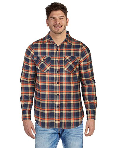 9 Crowns Men's Lightweight Plaid Flannel Shirt-NO Hood-NO Hood Navy/Orange-Large ()