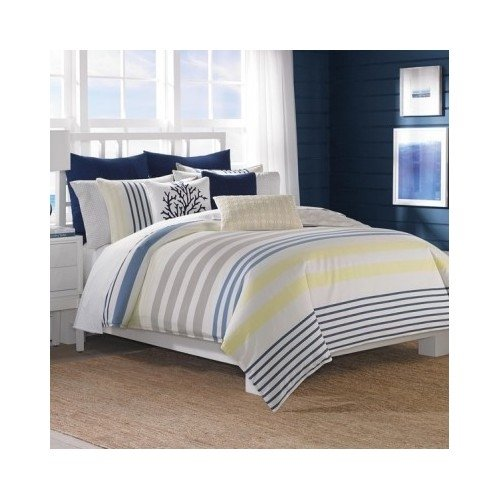 Modern Reversible Cotton Striped Blue Yellow 3-piece Comforter Bedding Set Includes Scented Candle Tart (king) ()