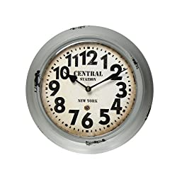 Adeco Central Station, New York Gray Iron Retro Round Wall Hanging Clock with Large Numbers
