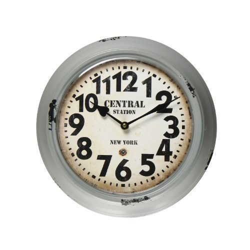 Adeco CK0051 Central Station, York Gray Iron Retro Round Wall Hanging Clock with Large Numbers, Grey