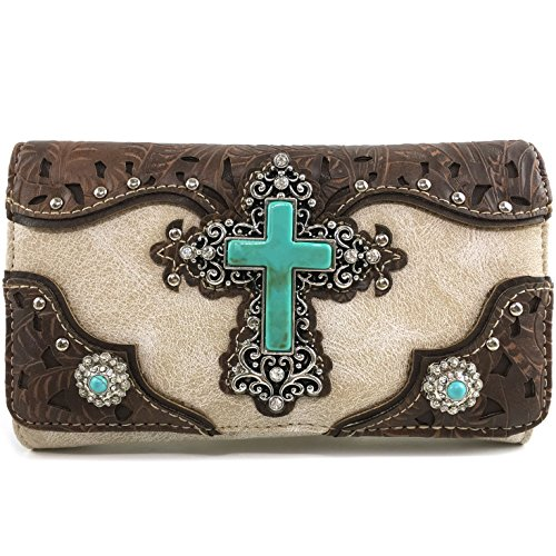 Strap Handbag Studded Rhinestone Laser Leather Set Tooled Justin Concho Cross West with CrossBody Turquoise Cut Wallet Messenger Beige Handbag Pq6ARR4Bw