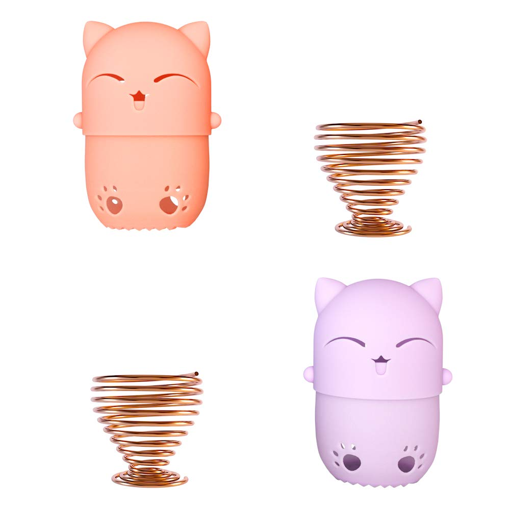 NaFurAhi Makeup Sponge Case, Cute Cat Shaped Containers, Silicon made Perfect for Traveling, Keep Makeup Sponges in a Safe &Sanitary, with 2 Fashion Hair Clips &2 Sponge Holders (Orange+Purple)