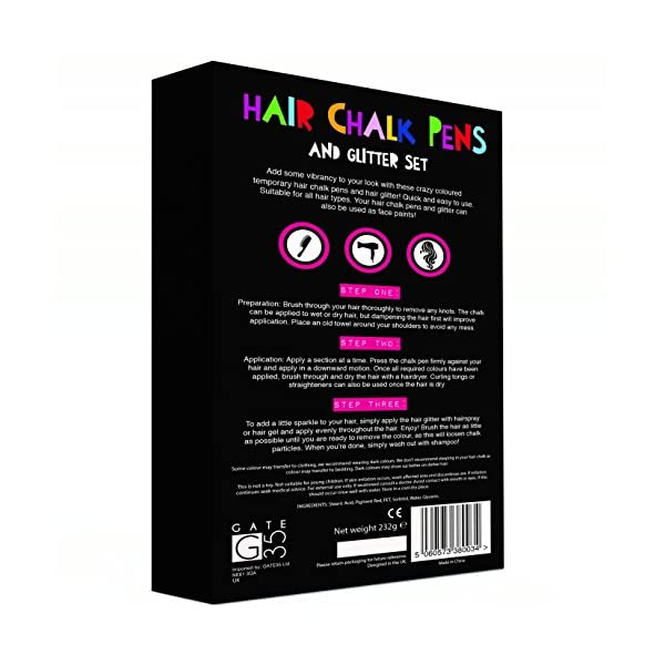 Hair Chalk Pens and Glitters - 12 Chalks and 4 Glitters - Deluxe Set 8