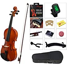 YMC VL-NR 4/4 Violin Starter Kit with Hard Case, Bow, Rosin, Extra Strings, Shoulder Rest, Mute, Electronic Tuner, Pinkinest, Polish Cloth, Violin Hanger, Natural, Full Size