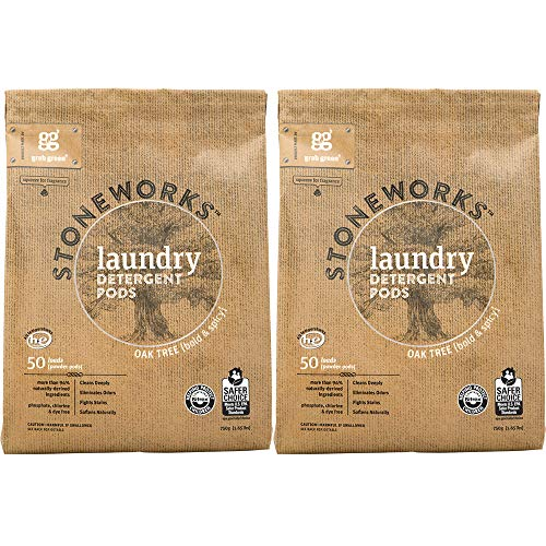 Grab Green Stoneworks Laundry Detergent Pods, Powered by Naturally-Derived Plant & Mineral-Based Powder Pods, Oak Tree, 50 Loads, 2-Pack-EPA Safer Choice Certified
