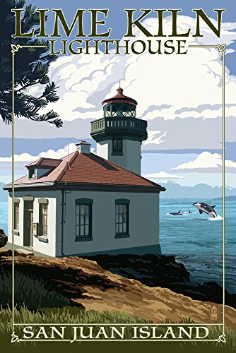 San Juan Island, Washington - Lime Kiln Lighthouse Day Scene (12x18 Art Print, Wall Decor Travel Poster)