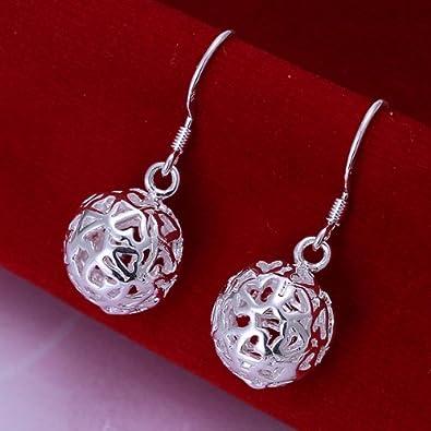 Style Objetivo - Pendientes Anillo Pendientes de bolas de filigrana Plata  20 mm 1788  Amazon.es  Joyería 67f3ef314af