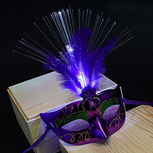 Ketteb Kids Gift Online Shopping Women Venetian LEDFiber Mask Masquerade Fancy Dress Party Princess Feather Masks ()