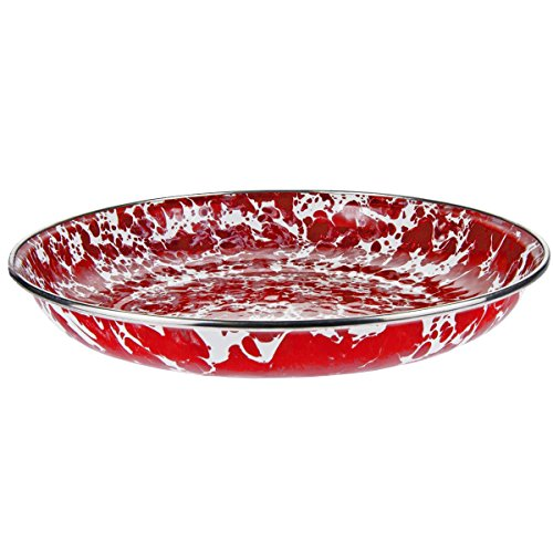 (Enamelware - Red Swirl Pattern - 10 Inch Pasta Plate)
