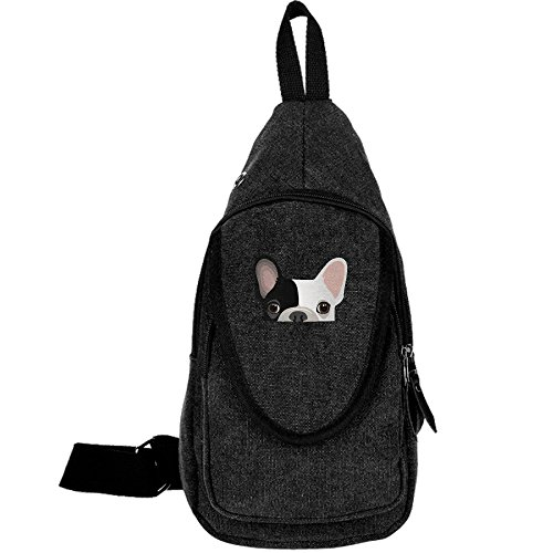 Cute French Bulldog Print Canvas Chest Pack Crossbody Bag Travel Bag Hiking Bag Shoulder Backpack Black