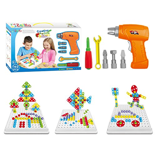 Zeliku Building Block Games Set With Toy Drill & ScrewDriver Tool set | Educational building blocks construction games| Develop Fine Motor Skills - Best Kids Toys for boys & girls age 3 - 14 year olds