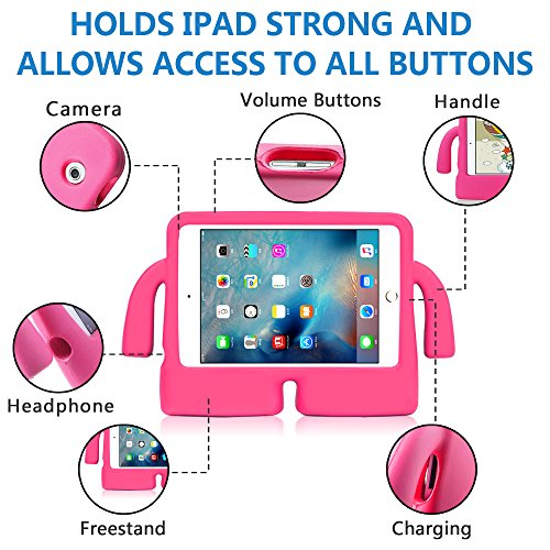 Lioeo iPad Mini Case for Kids iPad mini 4 Case with Handle Stand Shock Proof Cover Lightweight EVA Foam Protective Cases and Covers for Apple iPad Mini 4 3 2 1 7.9 inch (Hot Pink) by Lioeo (Image #4)
