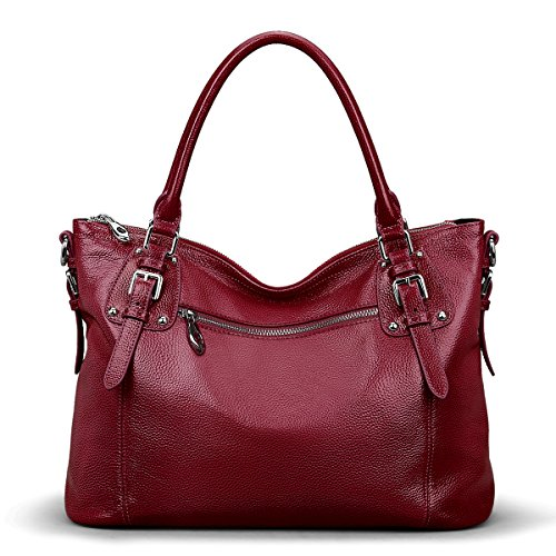 S-ZONE Women's Vintage Genuine Leather Tote Large Shoulder Bag with Zipper Pocket Outside (Medium-Wine Red)