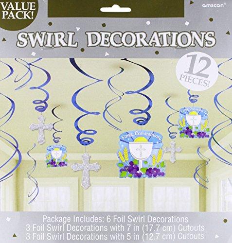 Blue Communion Value Pack Foil Swirl Decorations, 12 Ct.