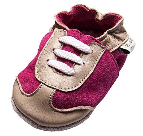 Jinwood designed by amsomo 12 Verschiedene Modelle - Mädchen - Hausschuhe - Lederpuschen - Krabbelschuhe - Soft Sole/Mini Shoes DIV. Groeßen 17/19-35/36 sporty fuchsia soft sole