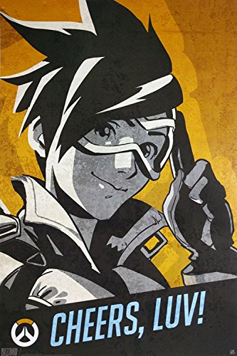Overwatch - Gaming Poster / Print Tracer: Cheers, Luv! Black Hanger By Stop Online