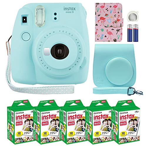 Fujifilm Instax Mini 9 Instant Camera Ice Blue with Custom Case + Fuji Instax Film Value Pack (50 Sheets) Flamingo Designer Photo Album for Fuji instax Mini 9 Photos