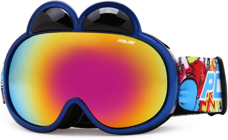 WJ スキーゴーグル スキーゴーグル - PC、ダブルアンチフォグレンズ、フレキシブルで調節可能なミラーストラップ、通気性の快適さ、2-6歳の子供、男性と女性、プロのアウトドアスキーと登山器具、かわいいコートHDゴーグル - 4色 /-/ (色 : 青) 青