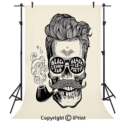 Indie Photography Backdrops,Hipster Gentleman Skull with Mustache Pipe and Eyeglasses with Inscription Vintage,Birthday Party Seamless Photo Studio Booth Background Banner 3x5ft,Black Cream