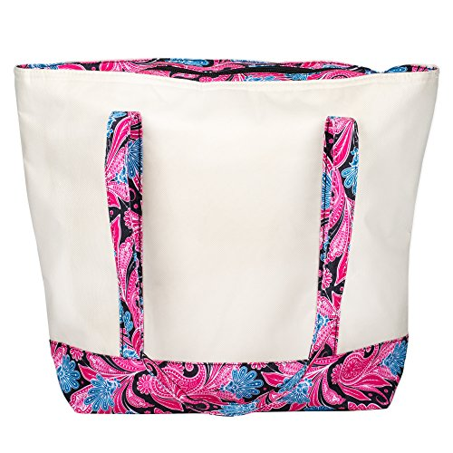 Large Canvas 16 x 14 Insulated Cooler Lunch Tote with 10 Inch Drop Handles - Pink Paisley
