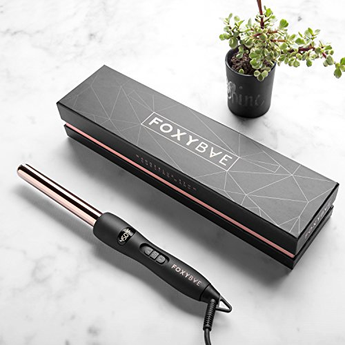 FoxyBae WANDERLUX 19mm Curling Wand - Professional Rose Gold Titanium Hair Curling Iron with Temperature Control - Auto Shut Off, LCD Display - Salon Grade Curls Waves Hair ()