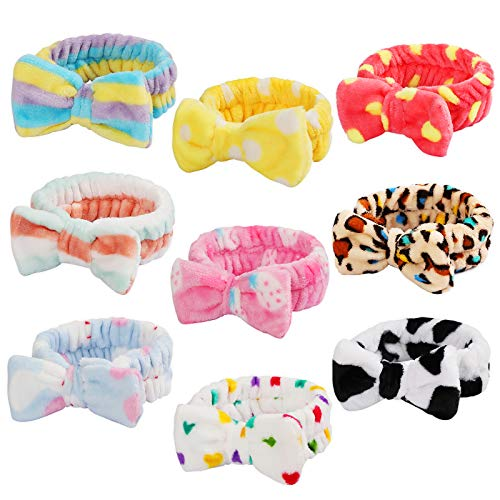 9 Pack Spa Headband Facial Makeup Headband, Coral Fleece Cosmetic Headband Face Wash Headband , Bow Hair band for…