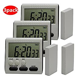 Hour Minute Second Count Up Countdown Digital Kitchen Timer, Big Digits, Loud Alarm, Magnetic Backing, Retractable Stand, 3 pack black