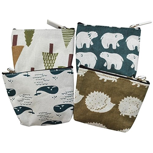 Bonaweite Canvas Change Coin Purse Bag Gift with Zip and Liner (Set of 4 Animal)