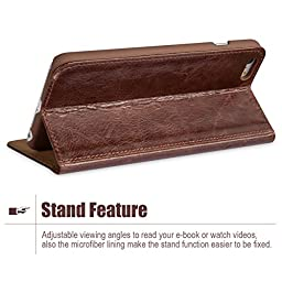 iPhone 6s / 6 Case, Benuo [Vintage Book Series] [Card Holder] Genuine Leather Case [Ultra Soft], Protective Folio Case Flip Cover with Stand Function for Apple iPhone 6 / iPhone 6s 4.7 inch (Brown)