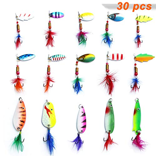 Easy Catch Lot 30pcs Assorted Color Fishing Lures Metal Spinner Baits Crankbait Assorted Fish Tackle Hooks Kit