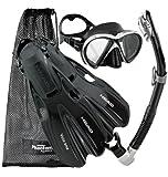 HEAD Marlin SMU Mask Fin Snorkel Set, Black Silver - Medium