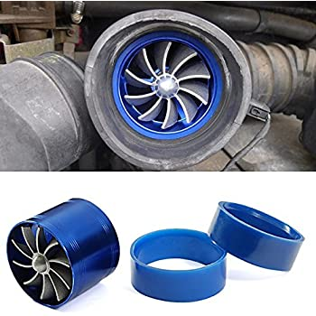 Blue Aluminum Single Turbo Turbine Charger Cool Air Intake Fuel Gas Saver Fan Universal Fit