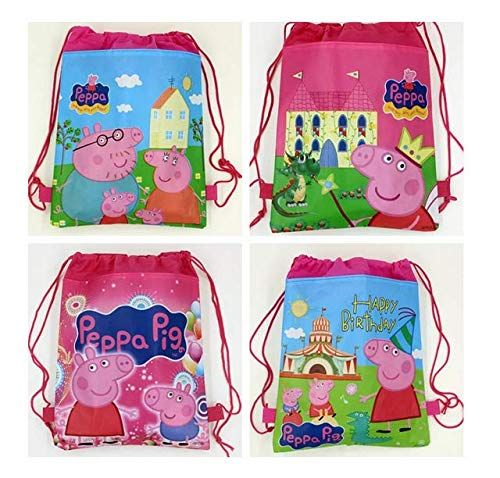 TA BEST Cute Peppa Pig Drawstring Bag for Gift Bag, Party Favor Bag, Peppa Pig Party Supplies Birthday Party Supplies - Set of 12]()
