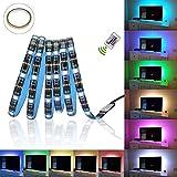 Glückluz Tiras de Luces LED RGB con Mando a Distancia USB Multicolor Retroiluminación Tiras de LED Kit Completo para Decoración del Partido Fiesta Cocina PC Escritorio Monitor Hogar(2M 5050 RGB 60 LEDs IR Remoto) (24 Botón)