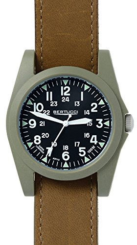Bertucci 13366 Unisex Polycarbonate Brown Leather Band Black Dial Smart (Band Sportsmens Watch)