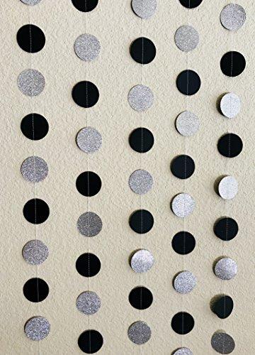 Circular Dots Hangings Set (5, Black and Glittering Silver Polka Dots - Polka Dots Wall Hanging