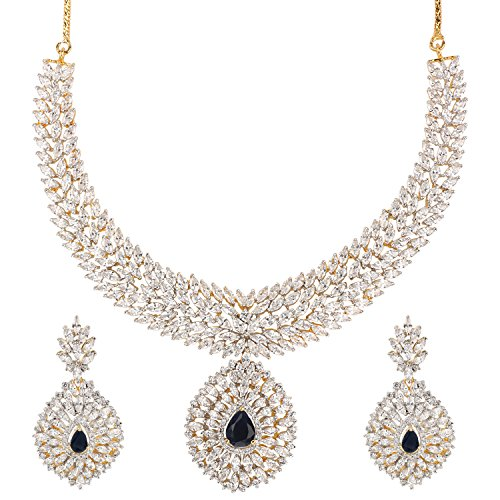 Swasti Jewels American Diamond CZ Zircon Fashion Jewelry Set Necklace Earrings for Women Blue by Swasti Jewels