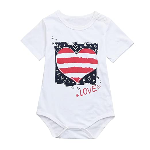 3c4fb5dfd27 FEITONG Newborn Toddler Baby Girls Boys Star Striped Love Romper  Independence Day Clothes Jumpsuits (Blue