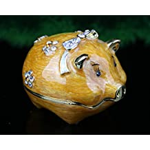 Large Gorgeous Money Frog Jewelled Trinket Box Jewelry Box with Inlaid Crystal, Three Legged Toad Money Frog Chan Chu Symbol of Prosperity in Feng Shui (Yellow Stone Studded)