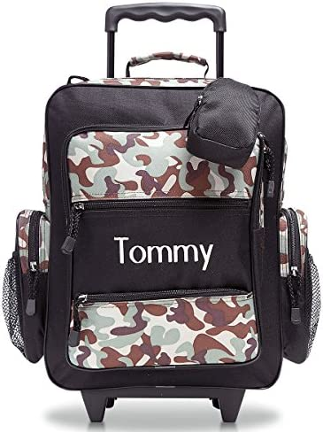 Personalized Rolling Luggage for Kids Classic Camo Black Design, 5 x 12 x 16.75 H, By Lillian Vernon