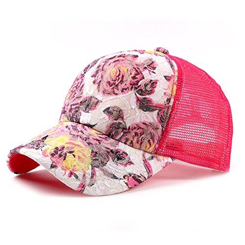ace Flower Print Sun Hat Floral Trucker Baseball Cap Hat (1Rose) (Lightweight Print Cap)