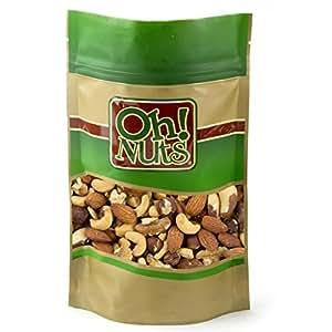 Fresh Mixed Nuts Roasted Unsalted Cashews, Walnuts, Brazil Nuts, Hazelnuts, Almonds, (2 Pound Bag) - Oh! Nuts