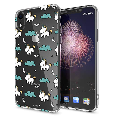 Crystal Skin Cover - NALIA Motif Case Compatible with iPhone XR, Pattern Design Silicone Back Cover Protector Soft Skin, Crystal Clear Gel Shockproof Smart-Phone Bumper, Slim Transparent Protective, Designs:Cloudy