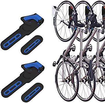2 Pack Foldable Vertical Bike Rack Wall Mounted Bicycle Cycle Storage Rack Single Bike Hook Wall Bike Hanger Holder W Tire Tray For Garage Shed Retail
