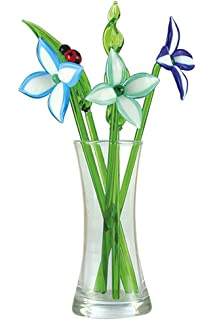 Crystal Glass Lovely Flower Bouquet With Vase, Gift Boxed   Fantasy Flowers