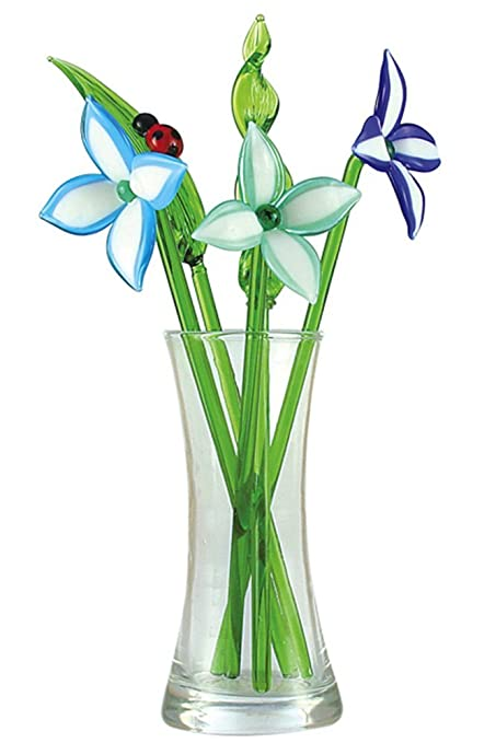 Amazon.com: Crystal Glass Lovely Flower Bouquet with Vase, Gift ...